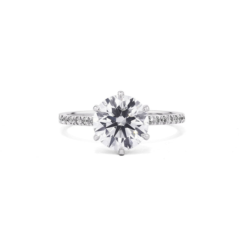 Cindie Round Engagement Rings Princess Bride Diamonds 3 14K White Gold