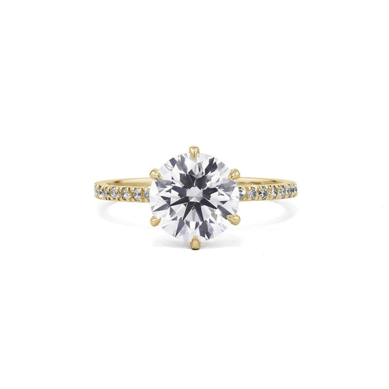 Cindie Round Engagement Rings Princess Bride Diamonds 3 14K Yellow Gold