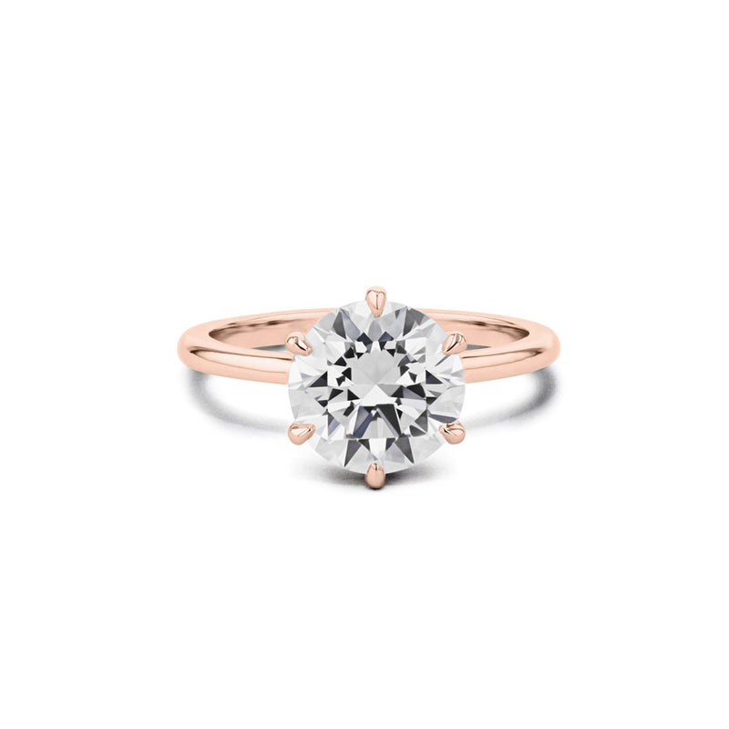 Cindie Round Solitaire Engagement Rings Princess Bride Diamonds 3 14K Rose Gold