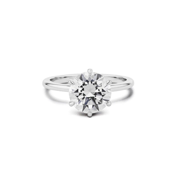 Cindie Round Solitaire Engagement Rings Princess Bride Diamonds 3 14K White Gold