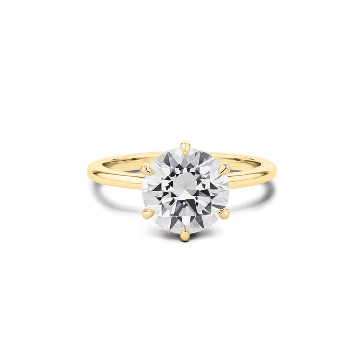 Cindie Round Solitaire Engagement Rings Princess Bride Diamonds 3 14K Yellow Gold