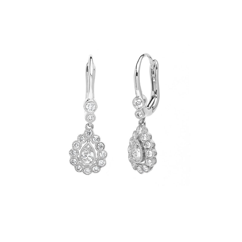 Claire Pear Vintage Drop Earrings Fine Jewelry Earrings Princess Bride Diamonds 14K White Gold