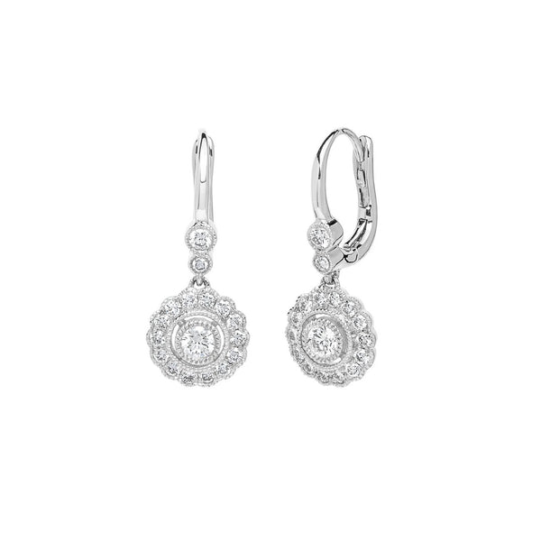 Claire Round Vintage Drop Earrings Fine Jewelry Earrings Princess Bride Diamonds 14K White Gold