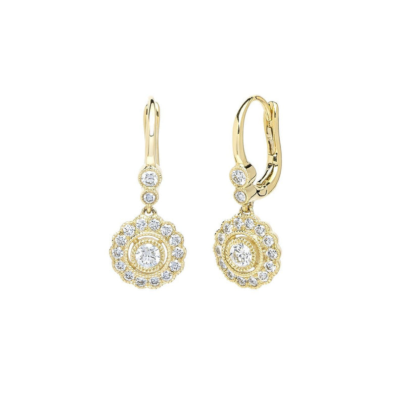 Claire Round Vintage Drop Earrings Fine Jewelry Earrings Princess Bride Diamonds 14K Yellow Gold