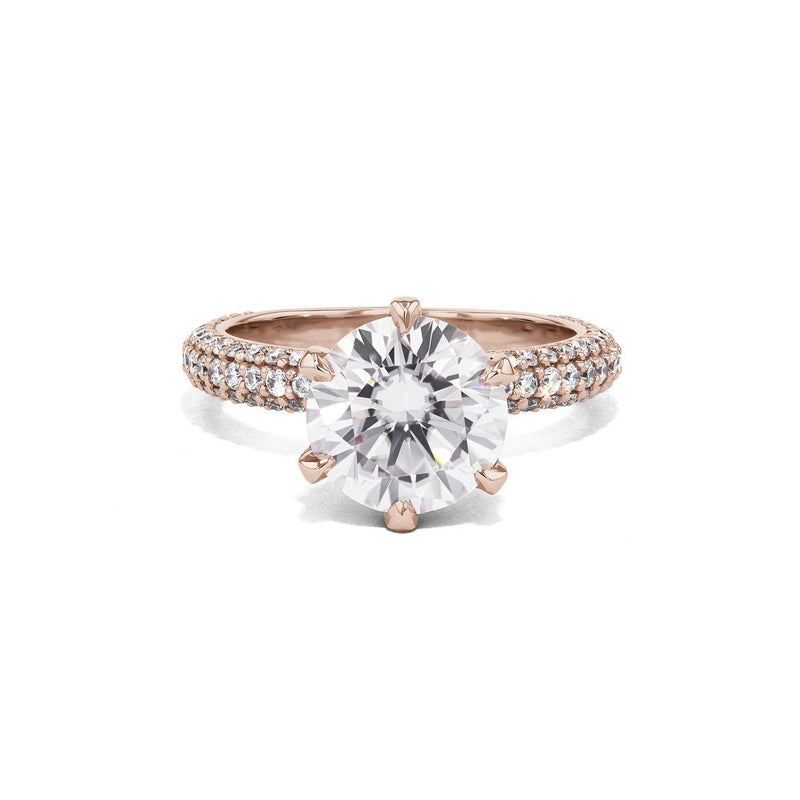 Crystal Round Engagement Rings Princess Bride Diamonds 4.5 14K Rose Gold