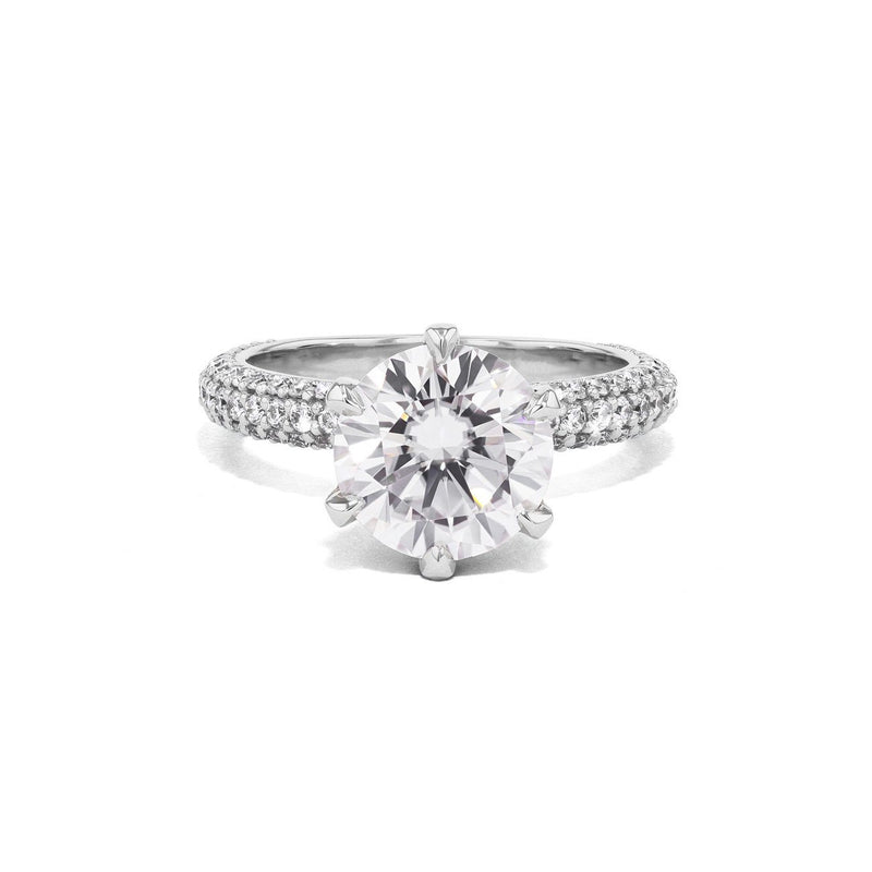 Crystal Round Engagement Rings Princess Bride Diamonds 4.5 14K White Gold