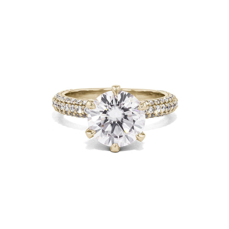 Crystal Round Engagement Rings Princess Bride Diamonds 4.5 14K Yellow Gold