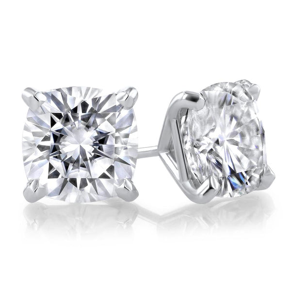 Cushion Moissanite Stud Earrings Fine Jewelry Earrings Princess Bride Diamonds