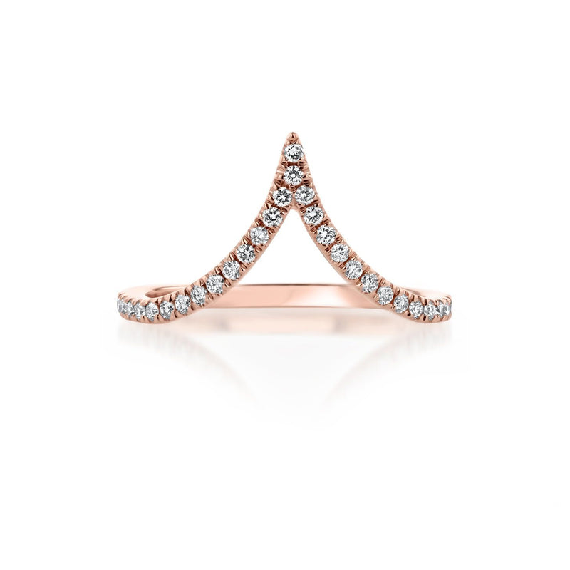 Deep Chevron Diamond Ring Ring Princess Bride Diamonds 3 14K Rose Gold