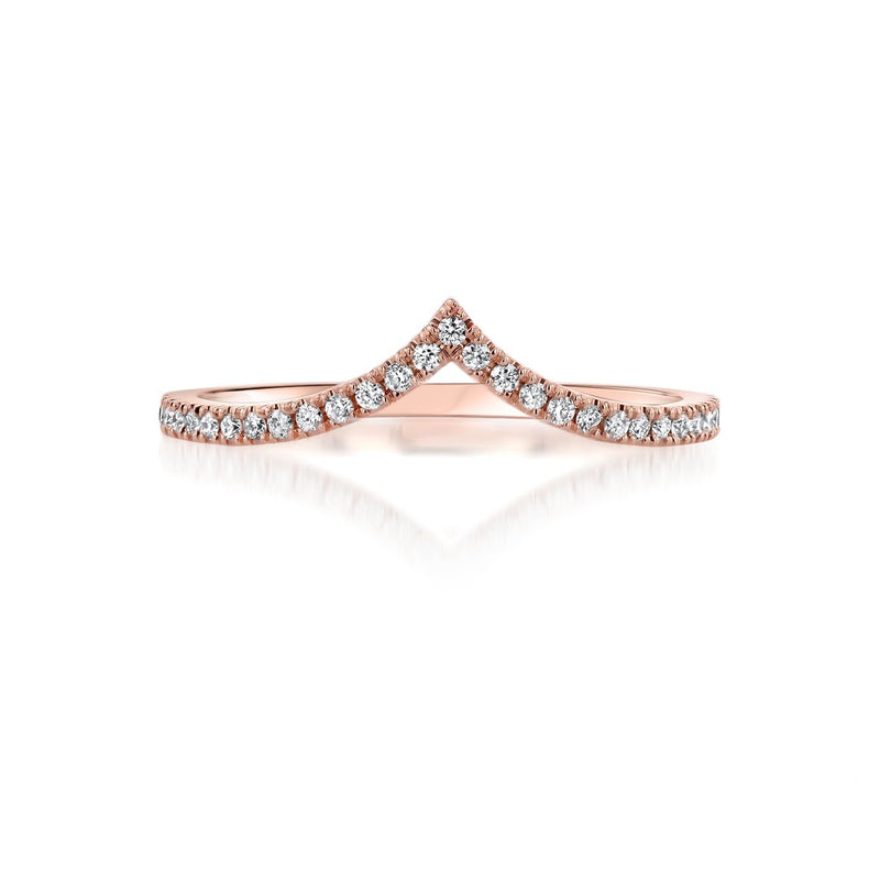 Diamond Chevron Stackable Ring Ring Princess Bride Diamonds 3 14K Rose Gold