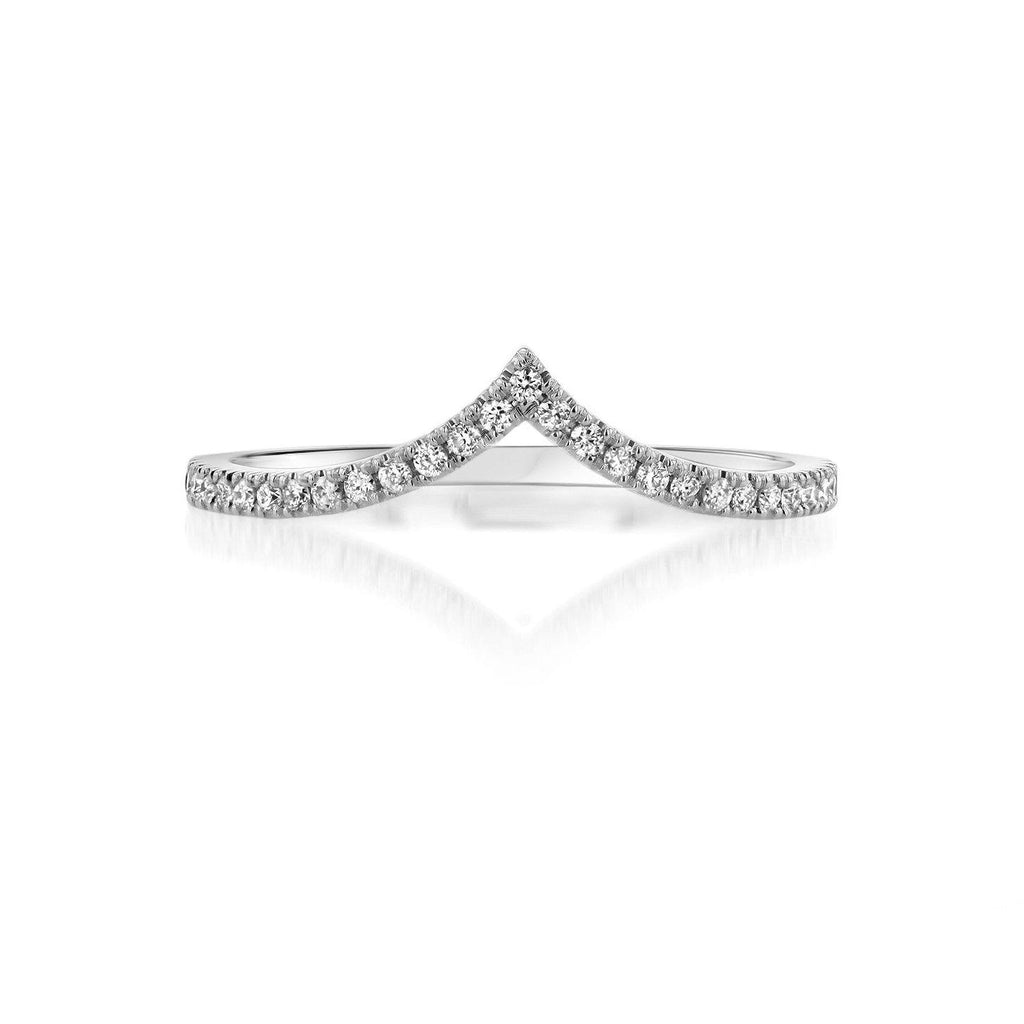 Diamond Chevron Stackable Ring Ring Princess Bride Diamonds 3 14K White Gold