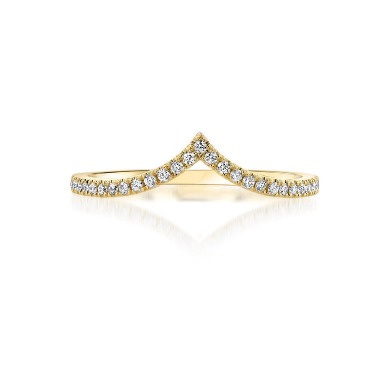 Diamond Chevron Stackable Ring Ring Princess Bride Diamonds 3 14K Yellow Gold