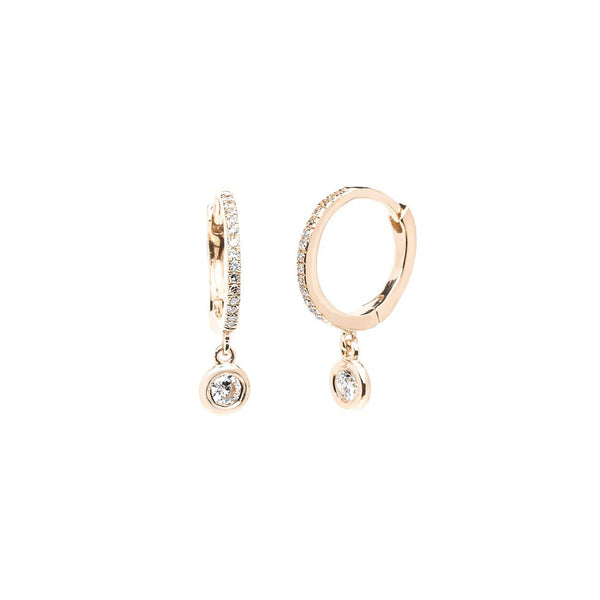 Diamond Drop Earrings Fine Jewelry Earrings Princess Bride Diamonds 14K Rose Gold