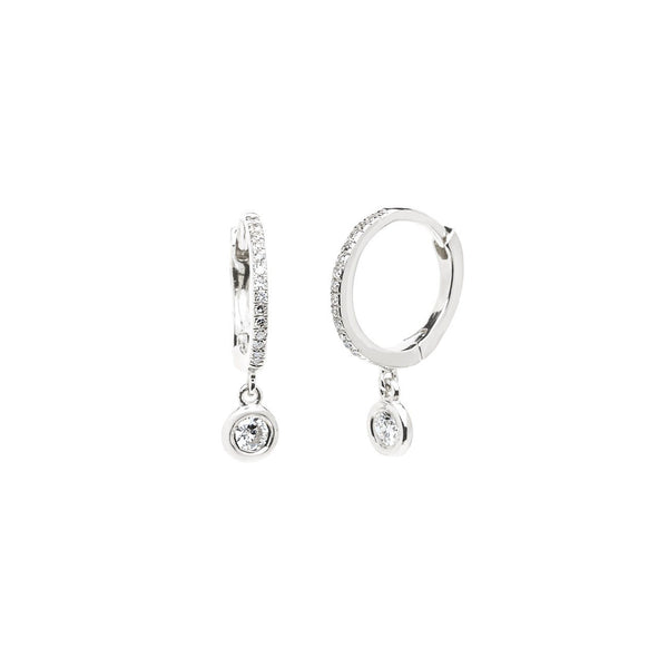 Diamond Drop Earrings Fine Jewelry Earrings Princess Bride Diamonds 14K White Gold