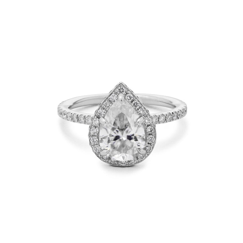 Double-Sided Halo Pear Engagement Rings Sarah Nicole
