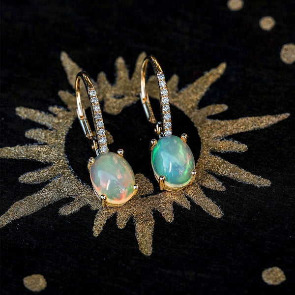 Ethiopian White Jelly Opal and Pavé Diamond Drop Earrings Fine Jewelry Earrings Princess Bride Diamonds
