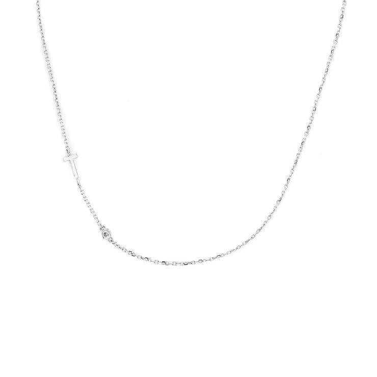Initial And Diamond Necklace Necklaces Princess Bride Diamonds 14K White Gold A