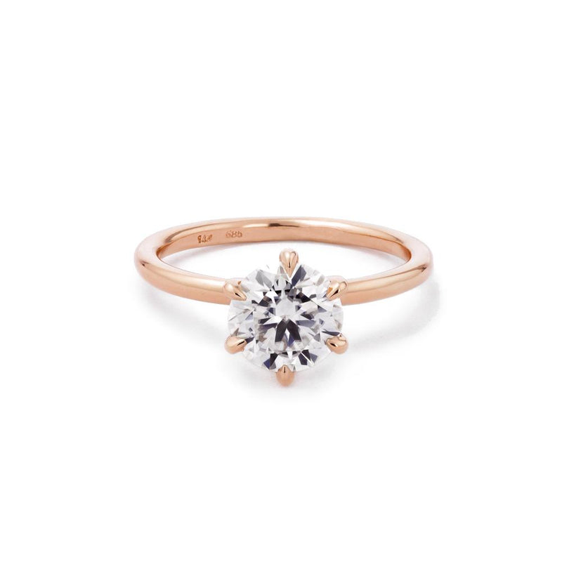 Juliette Round Solitaire Engagement Rings Princess Bride Diamonds 3 14K Rose Gold