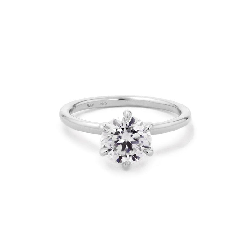 Juliette Round Solitaire Engagement Rings Princess Bride Diamonds 3 14K White Gold