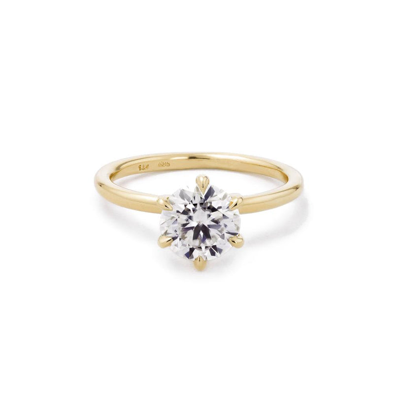 Juliette Round Solitaire Engagement Rings Princess Bride Diamonds 3 14K Yellow Gold