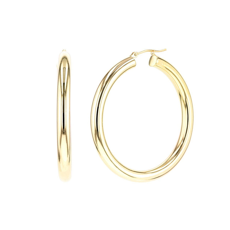 Large 14k Gold Hoops Fine Jewelry Earrings Princess Bride Diamonds 14K Yellow Gold
