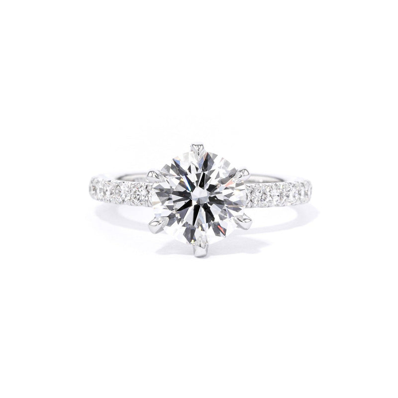 Maggie Round 6 Prongs Engagement Rings Princess Bride Diamonds 3 14K White Gold
