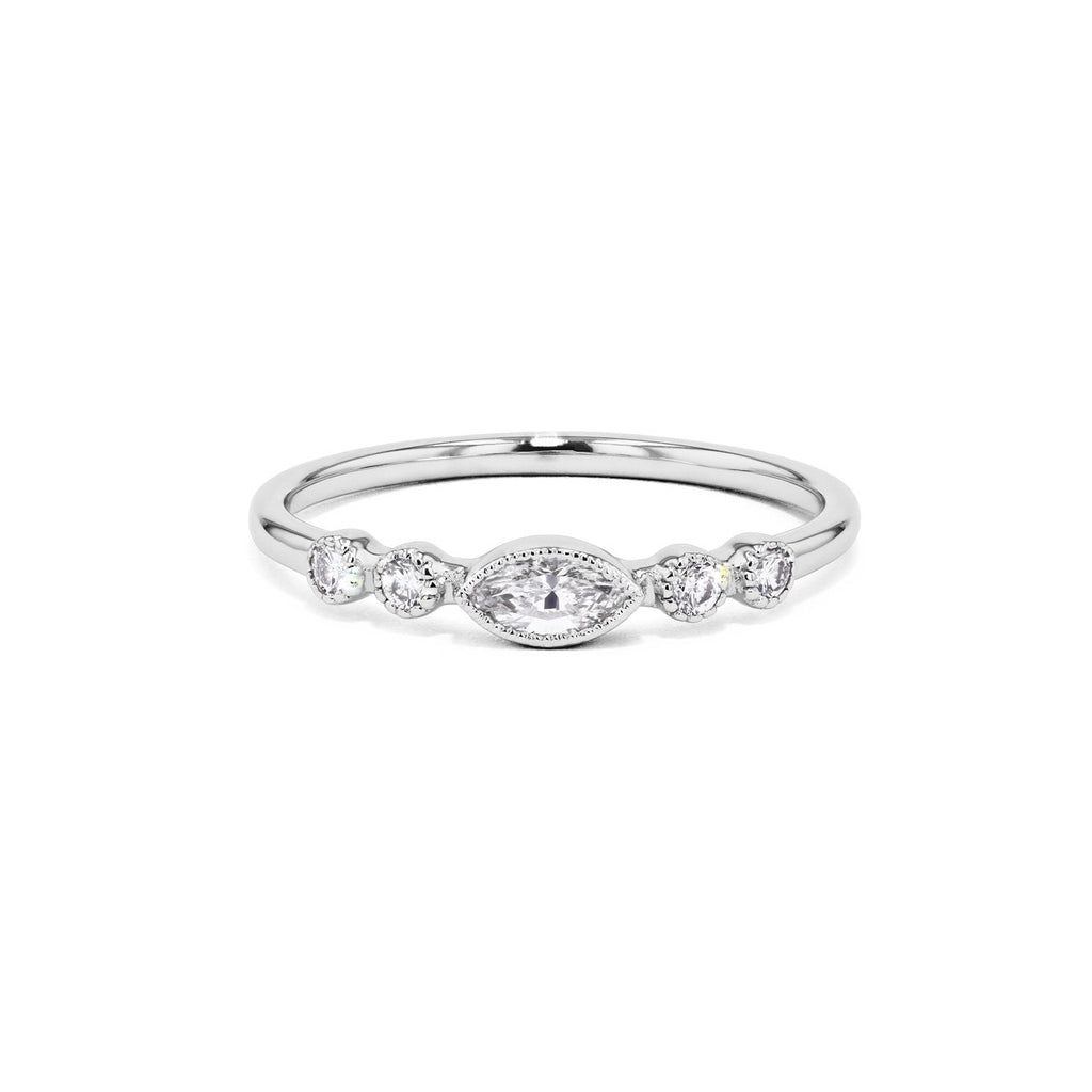 Marquise and Round Diamond Bezel Promise Ring Ring Princess Bride Diamonds 3 18K White Gold