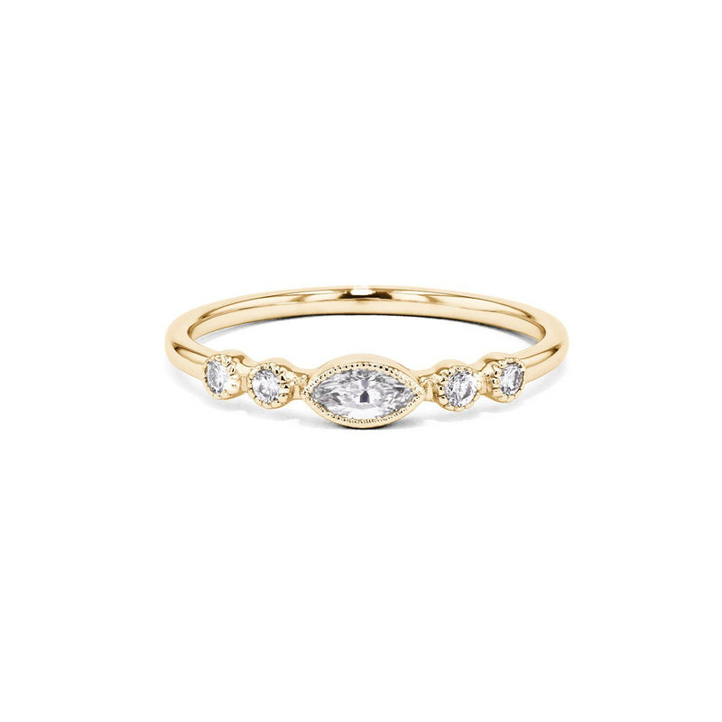 Marquise and Round Diamond Bezel Promise Ring Ring Princess Bride Diamonds 3 18K Yellow Gold