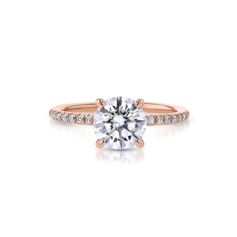 Nicole Round Engagement Rings Princess Bride Diamonds 3 14K Rose Gold