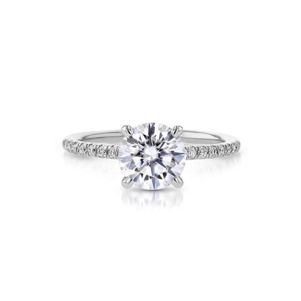 Nicole Round Engagement Rings Princess Bride Diamonds 3 14K White Gold