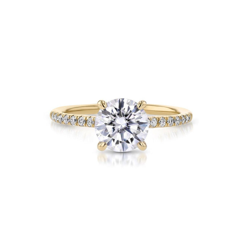 Nicole Round Engagement Rings Princess Bride Diamonds 3 14K Yellow Gold