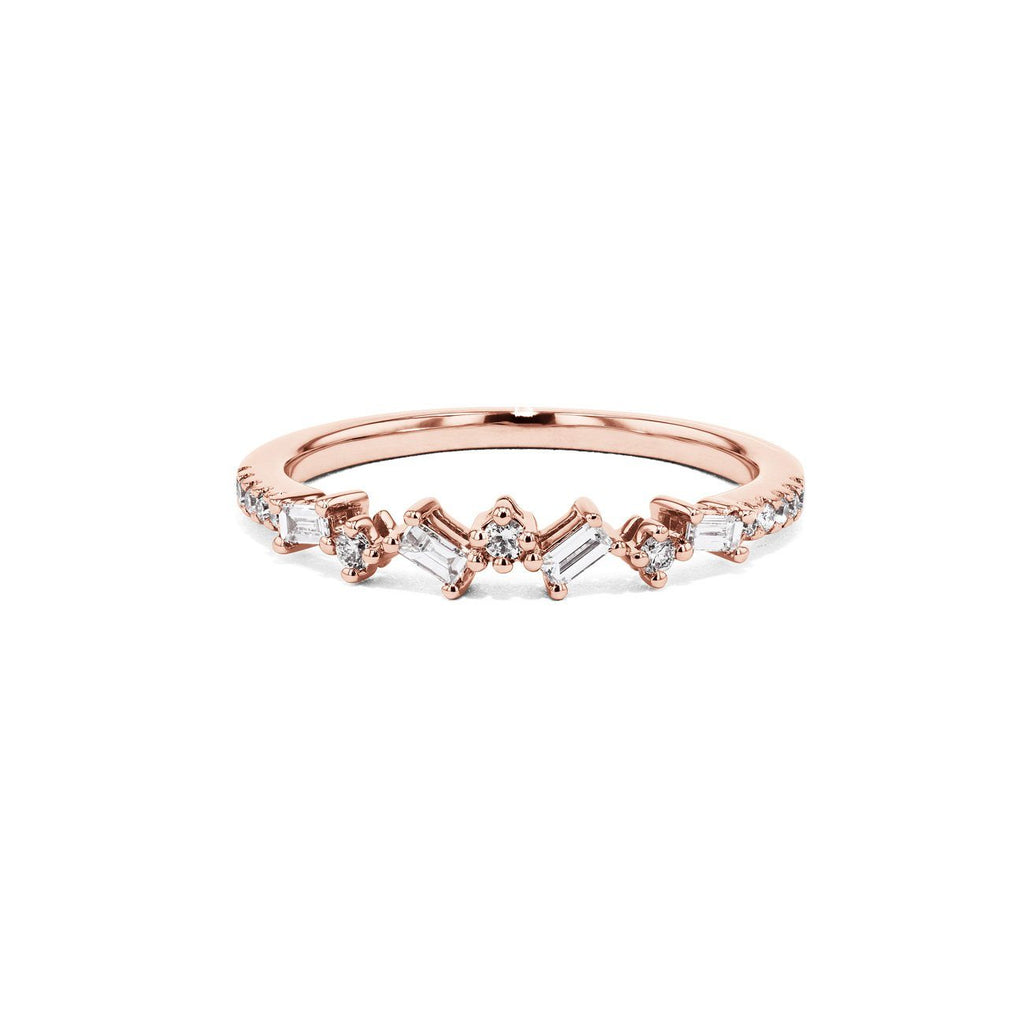 Offset Baguette and Round Diamonds Ring Ring Sarah Nicole 3 14K Rose Gold