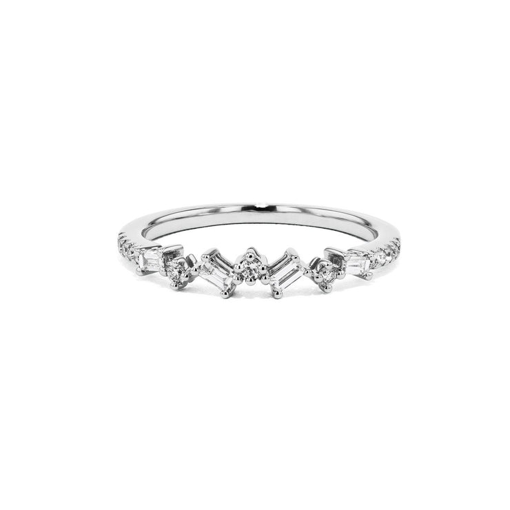 Offset Baguette and Round Diamonds Ring Ring Sarah Nicole 3 14K White Gold