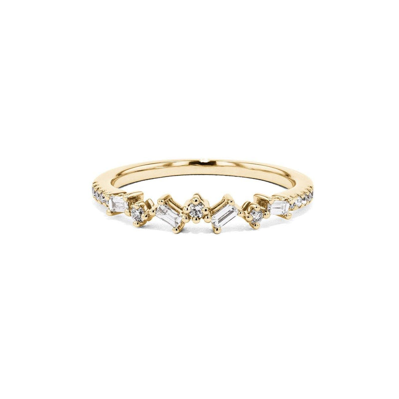 Offset Baguette and Round Diamonds Ring Ring Sarah Nicole 3 14K Yellow Gold