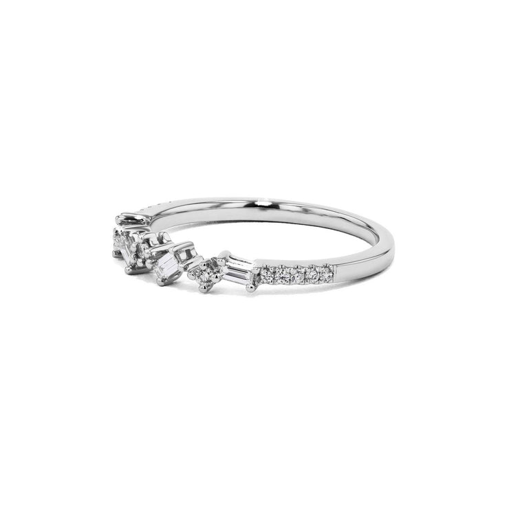 Offset Baguette and Round Diamonds Ring Ring Sarah Nicole