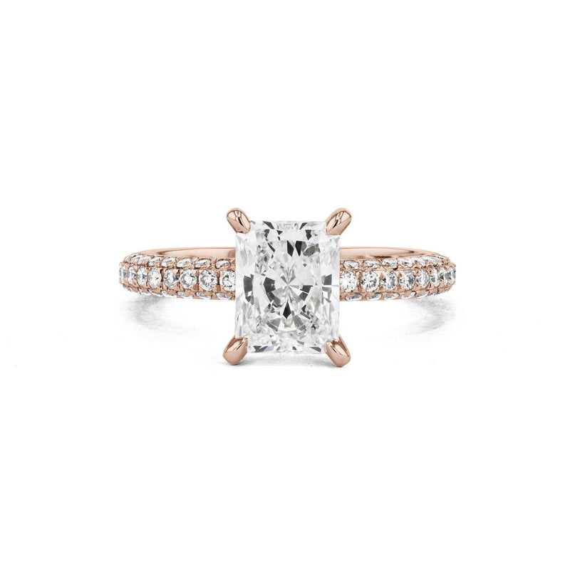 Orion Radiant Engagement Rings Princess Bride Diamonds 3 14K Rose Gold