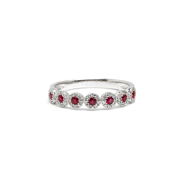 Petite Alexis 7-Stone Ruby Halo Ring Ring Princess Bride Diamonds