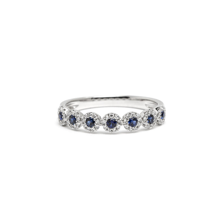 Petite Alexis 7-Stone Sapphire Halo Ring Ring Princess Bride Diamonds