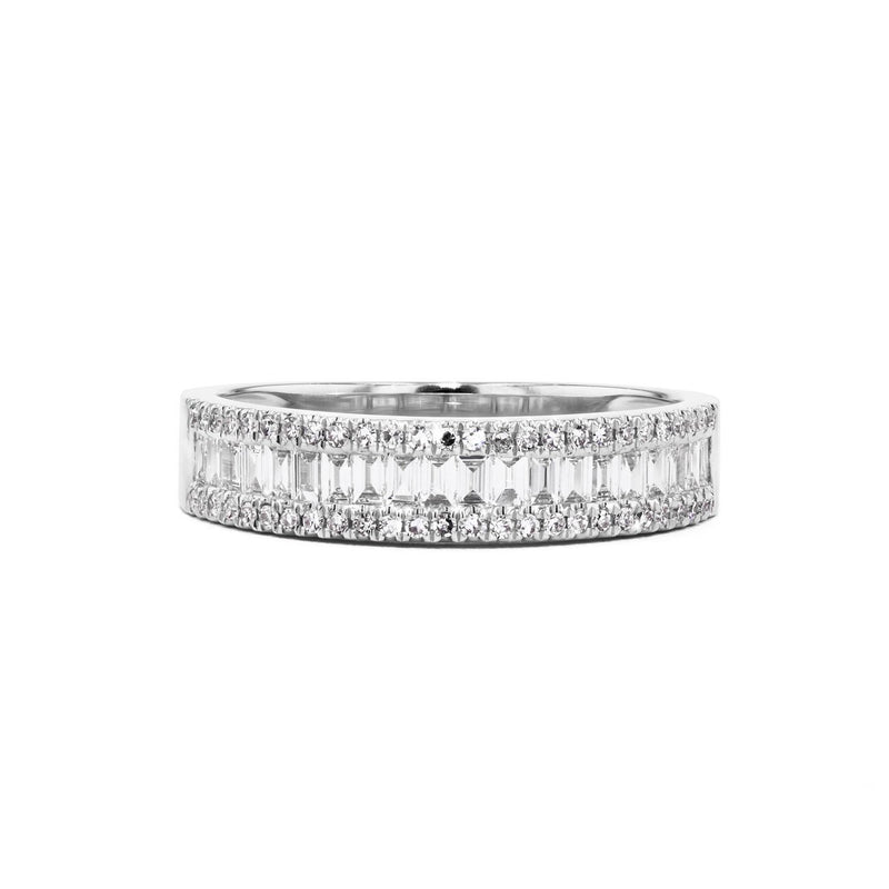 Petite Baguette and Round Diamond Ring Ring Princess Bride Diamonds 5 14K White Gold