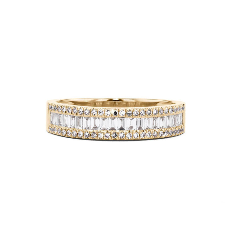 Petite Baguette and Round Diamond Ring Ring Princess Bride Diamonds 5 14K Yellow Gold