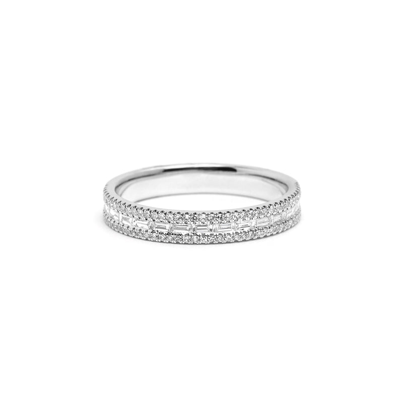 Petite East West Baguette And Pavé Diamond Ring Ring Princess Bride Diamonds 3 14K White Gold