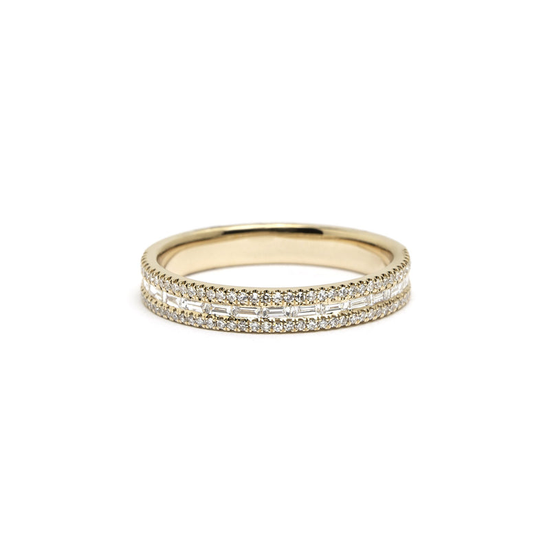 Petite East West Baguette And Pavé Diamond Ring Ring Princess Bride Diamonds 3 14K Yellow Gold