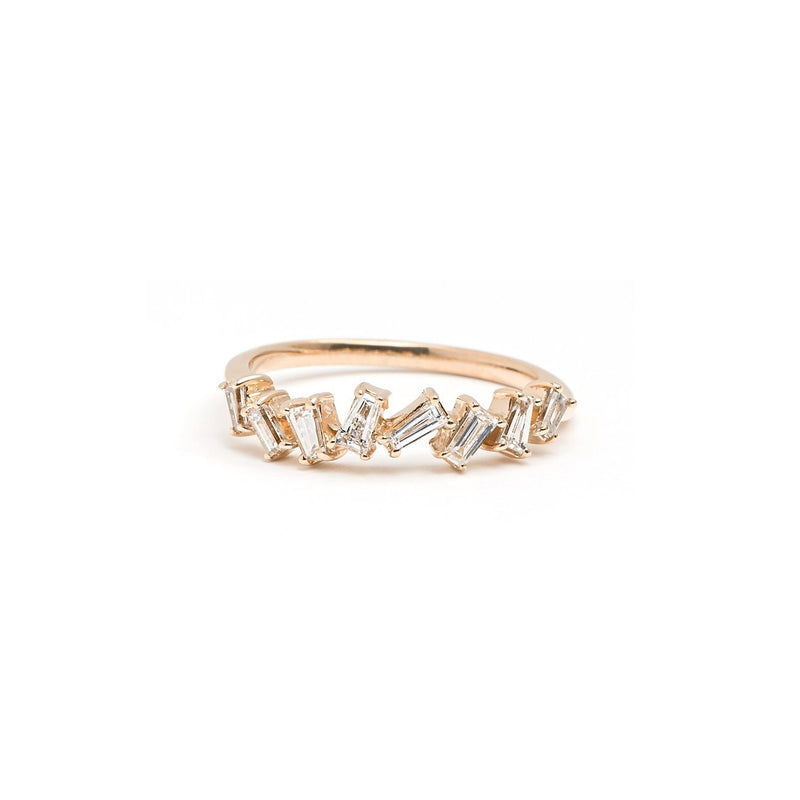 Rhea Baguette Diamond Ring Ring Princess Bride Diamonds 3 14K Rose Gold