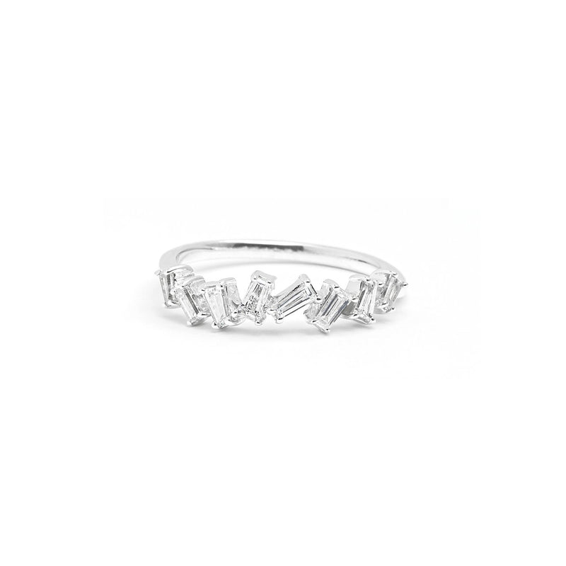 Rhea Baguette Diamond Ring Ring Princess Bride Diamonds 3 14K White Gold