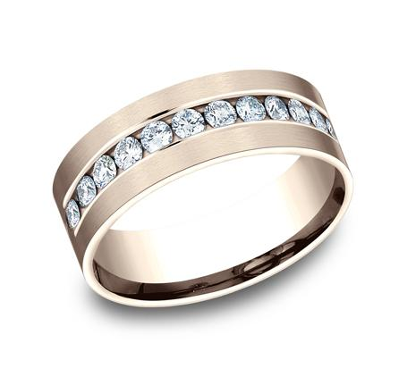 Rose Gold Channel Diamond Band Ring Princess Bride Diamonds