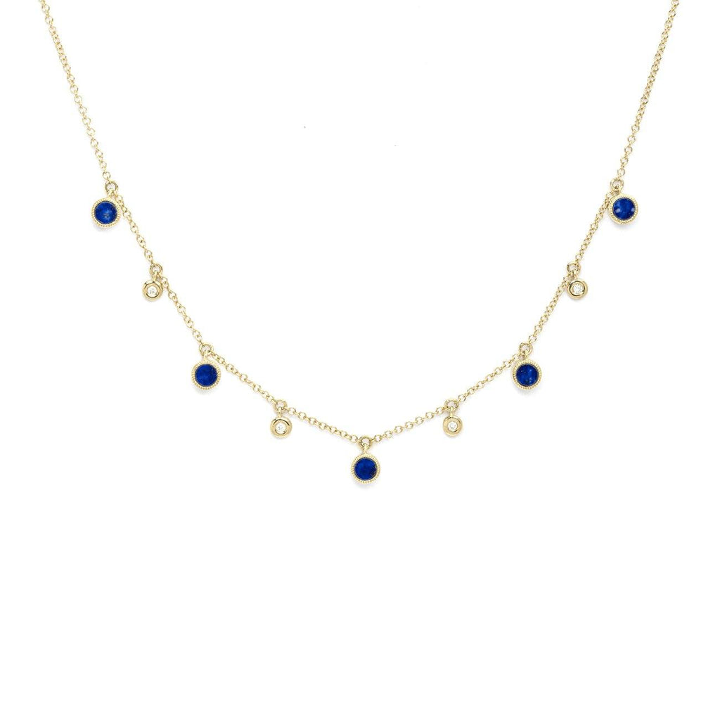 Round Bezel Lapis Lazuli and Diamonds Necklace Necklaces Princess Bride Diamonds