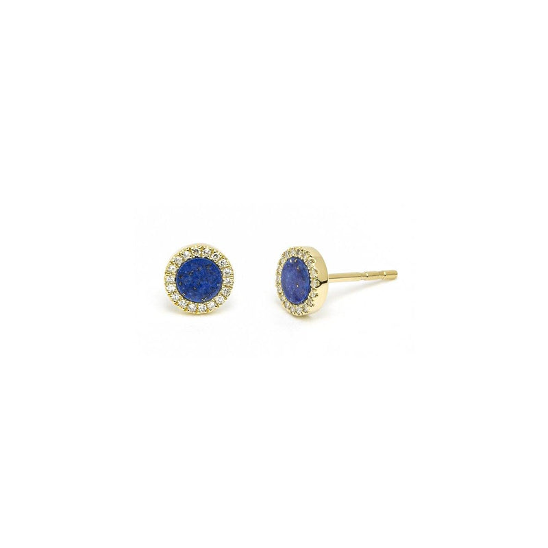 Round Lapis Lazuli & Pavé Diamond Stud Earrings Fine Jewelry Earrings Princess Bride Diamonds