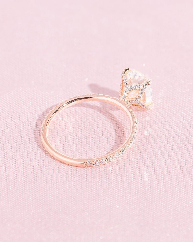 Samantha (2.10ct) 9x7mm Oval Moissanite Engagement Ring Engagement Rings Princess Bride Diamonds 3 14K Rose Gold