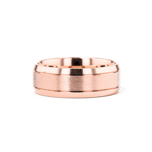 Satin Finish Bevel Edge 8mm Gold Ring Ring Princess Bride Diamonds 6 14K Rose Gold