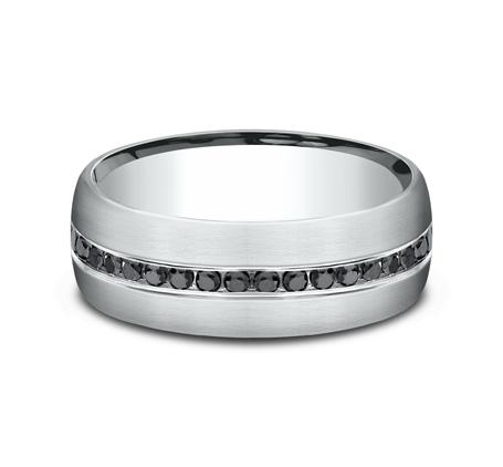 Satin Finish Platinum Channel Black Diamond Band Ring Princess Bride Diamonds